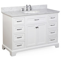 "Aria Bathroom Vanity, Base: White, 48"", Top: Carrara Marble"