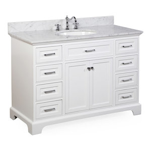 "Aria Bath Vanity, Base: White, 48"", Top: Carrara Marble"