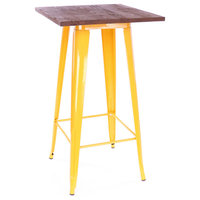 Dreux Steel Bar Table, Yellow Dark Wood