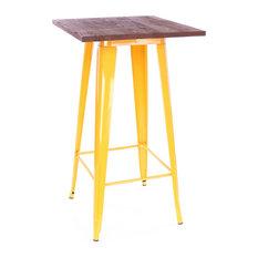 Dreux Steel Bar Table, Yellow Dark Wood