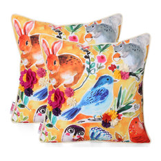 Dominique Throw Pillow, Woodland Animals, Multicolor Floral, Set of 2