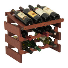 12-Bottle Wine Rack With Display Top, Mahogany finish