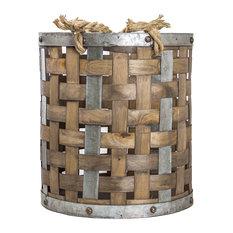 Bamboo/Metal Storage Basket, Small
