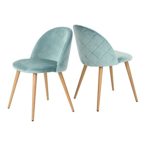 Dining Chairs With Wood Legs - Set of 2 - Velvet Cushion Radian Backing Seat, Gr Decor Love