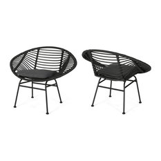Aleah Outdoor Woven Faux Rattan Chairs With Cushions, Set of 2, Gray, Dark Gray
