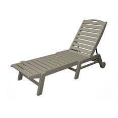 POLYWOOD Nautical Chaise with Wheels in Sand