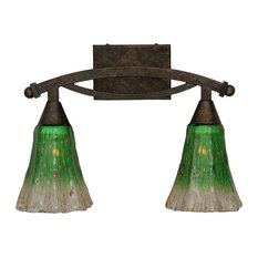 "Bow 2 Light Bath Bar In Bronze, 5.5"" Fluted Kiwi Green Crystal Glass"