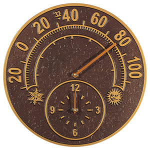 Clock Thermometer With Sun And Moon Weather Resistant