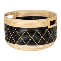Round Coiled Rattan Storage Basket, Natural and Black