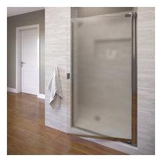 """Armon 32.75-34.25"""" Semi-Frameless Pivot Shower Door, Obscure Glass, Chrome"""