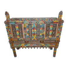 Mogulinterior - Consigned Painted Hand-Carved Antique Console Damchia Banjara Tribal Sideboard - Buffets And Sideboards