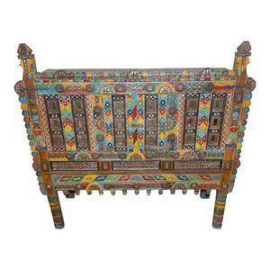 Mogulinterior - Consigned Painted Hand-Carved Antique Console Damchia Banjara Tribal Sideboard - Accent Chests And Cabinets
