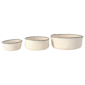 Scandinavian Decorative Bowl Set, Light Grey Trim, Set of 3