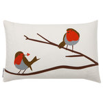 Lorna Syson - Robin Songbird Cushion - The Robin Songbird Cushion is inspired by regular visits from Robins in the designer's childhood garden. The familiar and endearing bird can be seen throughout the year in country hedgerows, adding vivid spots of cheerful colour to the countryside. With this cushion, you can bring the charm of this delightful bird indoors. Lorna Syson founded her studio in 2009, specialising in home decor that draws its inspiration from the stunning English countryside.