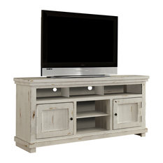 Progressive Furniture Willow Entertainment 64 Console Distressed White Centers And Tv