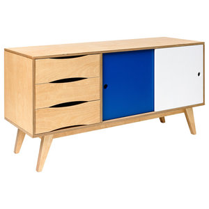 SoSixties Sideboard, Oak, White and Blue, Large