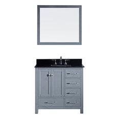 "36"" Single Bathroom Vanity,Grey,Black Galaxy Granite Top,Square Sink,Mirror"