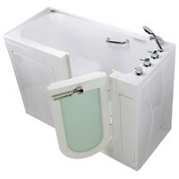 Lounger Acrylic Dual Massage and Microbubble Walk-In Bathtub with Left Outward S