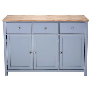 Traditional Sideboard, Grey Painted MDF With Oak Top, 3-Door and 3-Drawer