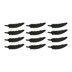Brown Cast Iron Feather Drawer Handle Cabinet Pull Furniture Decor Set of 12