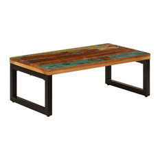 VidaXL Coffee Table Steel Legs 39.4-inch Solid Reclaimed Wood Accent Sofa Desk