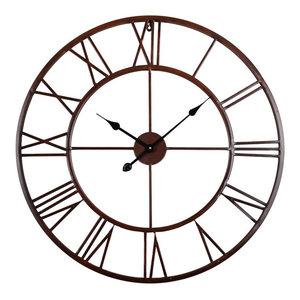 "Roman Round Wall Clock, Distressed Finish, Bronze,, 30"" Round"