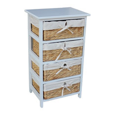 Water Hyacinth 4-Basket Drawer finished, White