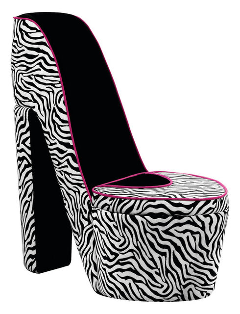 Small Upholstered Zebra Black With Pink T Shoe Chair Storage