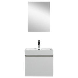 "Eviva Drop 24"" White Wall Mount Modern Bathroom Vanity With White Acrylic Sink"