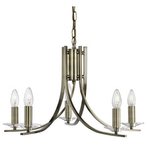 Ascona Twisted 5-Light Pendant With Clear Glass Sconces, Antique Brass