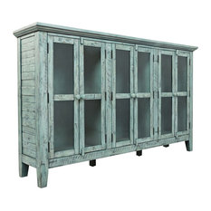 Rustic Shores Surfside 70-inch Accent Cabinet Blue With Gray Green Undertones