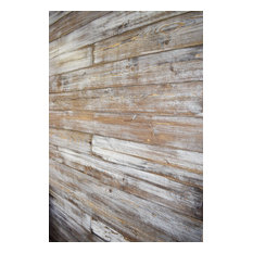 """Shiplap Wall, Weathered White/Brown, 96"""" Board Length, 25 sq.ft."""
