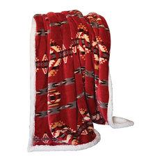 Red Southwestern Extra Plush Sherpa Throw Blanket