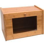 Lipper International - Bamboo Bread Box With  Window Door - This bamboo bread box brings a classic warm look to your kitchen.  Generously sized to accommodate your breads, rolls, and pastries.  Clear acrylic window allows for easy inventory of your baked goods.  No assembly required.  Sturdy construction.  Straight top great for additional storage.  Made of environmentally friendly bamboo.