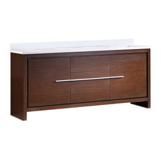 "Allier 72"" Double Sink Bathroom Cabinet, Base: Wenge Brown, With Top and Sink"