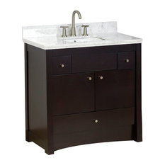 "Birch Veneer Vanity Base Only, Distressed Antique Walnut, 35""X17.5"""