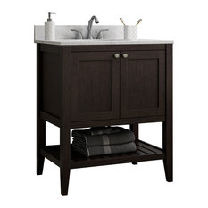 Vanguard Bathroom Vanity With Open Shelf Bottom, Espresso, 30""
