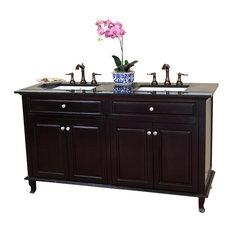 62 Inch Double Sink Vanity-Dark Mahogany
