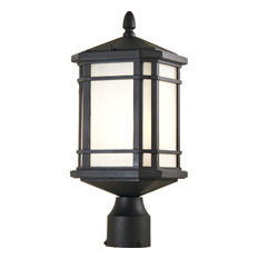 Cardiff 1-Light Outdoor Post Top, Black With Sand Blasted Seedy Glass