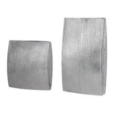 Large Ribbed Cast Aluminum Vases 2-Piece Set, Rectangle