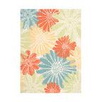 Home & Garden Multicolor Floral Indoor/Outdoor Area Rug, Ivory, 7