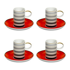 Vista Alegre Porcelain Casablanca Coffee Cup & Saucer, Set Of 4