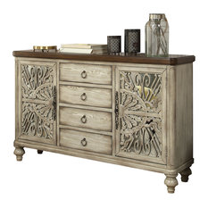 Acme Vermont 4 Drawer Console Table, Antique White