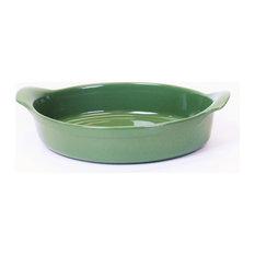 Emile Henry France 3.5 Quart Oval Gratin Baking Dish, Sage