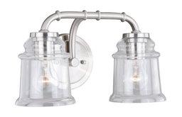 Toledo 2 Light Satin Nickel Industrial Jar Bathroom Vanity Fixture