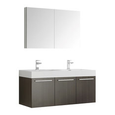 Fresca Vista Wall Double Sink Vanity With Medicine Cabinet, Gray Oak, 47""