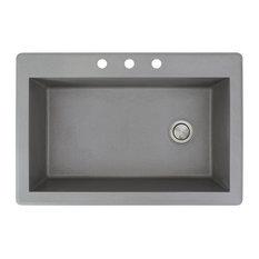 Transolid - 33-in x 22-in Drop-in Radius Granite Kitchen Sink, Grey - Kitchen Sinks