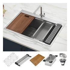 """Ruvati 33"""" Workstation Drop-in  Stainless Steel Kitchen Sink, RVH8003"""