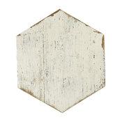 "14.13""x16.25"" Lambris Hex Porcelain Floor/Wall Tiles, Set of 9, Off-White"