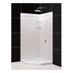 "DreamLine SlimLine 40""x40"" Neo-Angle Shower Base QWALL-4 Shower Backwall"
